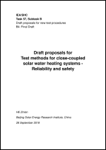 Test methods for close-coupled solar water heating systems - Reliability and safety